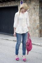 coach bag - Forever 21 jeans - Forever 21 blouse - Mango heels