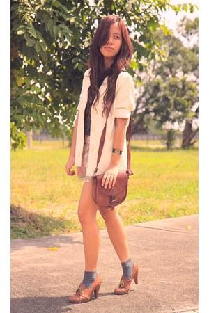cream pinstripe shopvintagefindsmultiplycom blazer - vintage brown Vera Tolfa pu