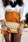 Mustard-studded-bag-purse-tawny-high-waisted-shorts-ivory-blouse