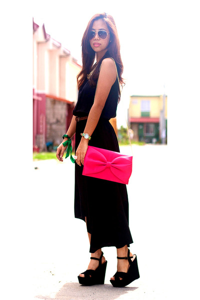 black hi low hem maxi cotton on dress - hot pink bow H&M bag