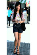 floral print Pink Manila top - denim cuffed Hi waisted shorts