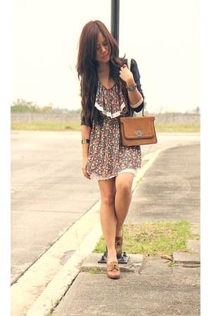 brown Zara loafers - cherry printed shopvintagefindsmultiplycom dress