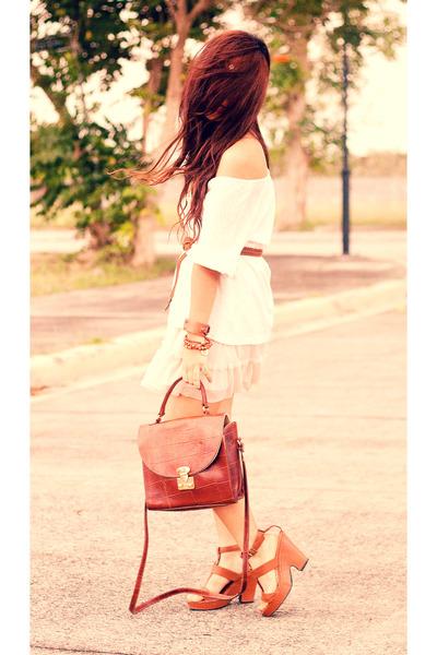 vintage satchel Fendi bag - oversized Mango top - blush tulle Forever 21 skirt