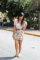 Forever21 skirt - vintage belt - Forever21 accessories - Gibi shoes