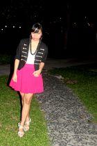 Beige shoes - Glitterati blazer - Forever 21 skirt - Topshop top