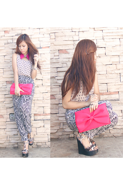 tribal pants - heather gray polka shopvintagefinds dress - Aldo wedges