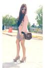 Peach-vintage-blazer-bubble-gum-heart-printed-skirt