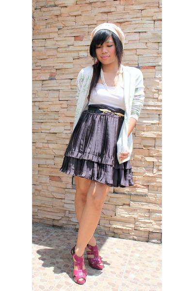 shopvintagefindsmultiplycom cardigan - Zara top - vintage skirt - Topshop belt -