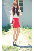 bodycon Zara skirt - sheer warehouse blouse