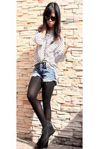 vintage blouse - DIY shorts - shoes - Forever21 necklace