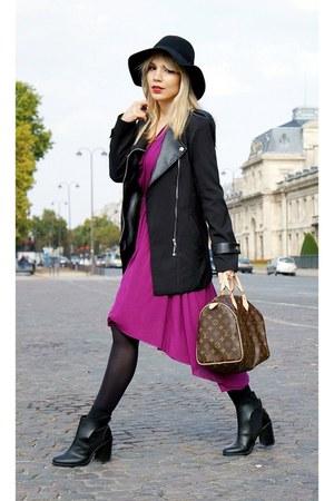 Zara boots - Diesel dress - Sheinside coat - Stradivarius hat