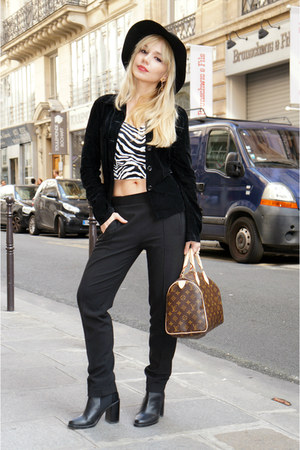 Zara boots - vintage jacket - Louis Vuitton bag - bcbg max azria pants