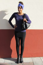 purple tight fit Forever 21 sweater - black buckled Steve Madden boots