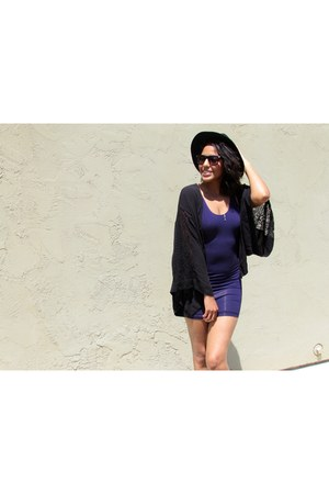 black fedora Nasty Gal hat - purple bodycon American Apparel dress