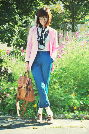 pink blazer - blue pants - brown shoes - brown bag