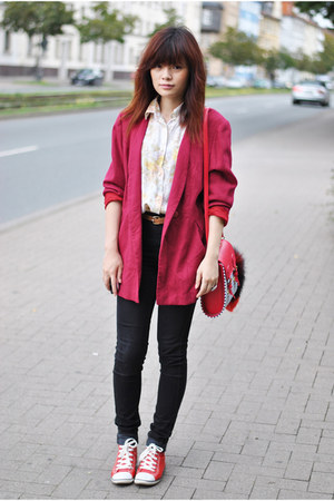 ruby red vintage blazer - black H&amp;M jeans