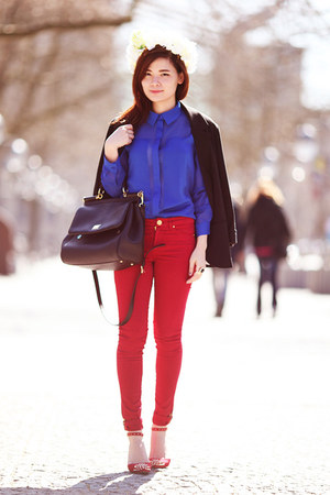 blue Esprit blouse - red Zara pants