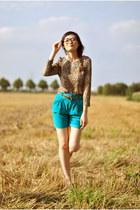 turquoise blue Zara shorts