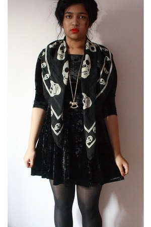 velvet new look dress - skull Primark scarf - rocking horse Primark necklace