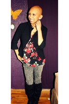 thrifted boots - Pac Sun jeans - Forever 21 blazer - thrifted blouse
