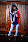 Red-cardigan-heather-gray-scarf-hat