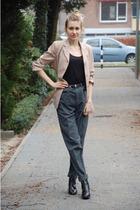 gray thrifted pants - beige thrifted blazer - black vintage boots - black vintag