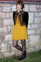 black black and gold H&M jacket - black brogues modcloth shoes