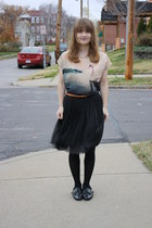 black H&M skirt - black modcloth shoes - tan H&M shirt