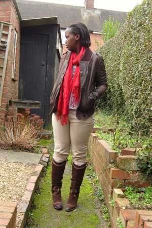 Topshop jacket - Market scarf - H&M t-shirt - Zara pants - Clarks boots