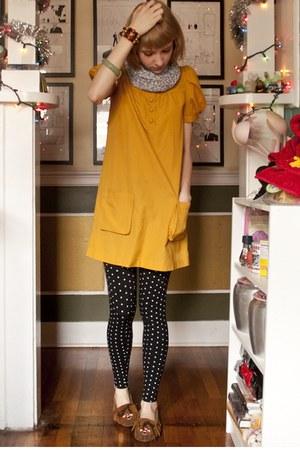 gold H&M dress - black Walmart leggings - burnt orange Minnetonka shoes - heathe