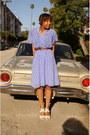 Light-purple-feather-print-thrifted-vintage-dress-sigerson-morrison-heels