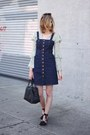 Black-asos-shoes-navy-madewell-dress-chartreuse-h-m-top