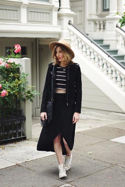 black BLANKNYC jacket - camel free people hat - black Gap skirt