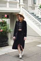 black BLANKNYC jacket - camel free people hat - black Gap skirt