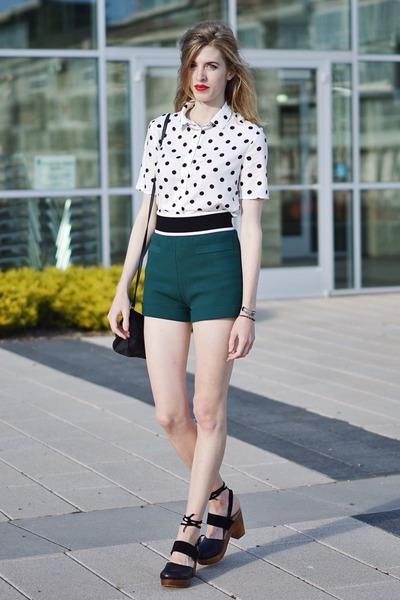 white H&M top - green H&M shorts - black free people clogs