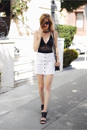 black Urban Outfitters bodysuit - white Forever 21 skirt