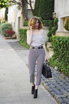 black madewell boots - black madewell bag - white H&M pants