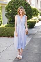 white H&M shoes - blue Urban Outfitters dress - tan banana republic bag