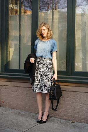 black madewell bag - blue Forever 21 shirt - white Forever 21 skirt