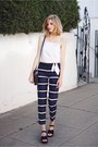 Navy-express-pants-white-express-top