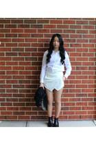 boots - black boyfriend blazer - white shirt shirt
