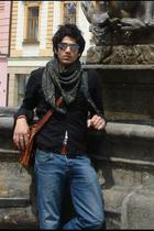 silver sunglasses - green scarf - black shirt - brown belt - blue jeans - brown