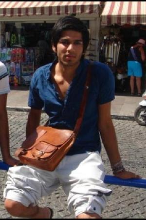 blue vintage shirt - brown satchey the satchel purse - white nike pants