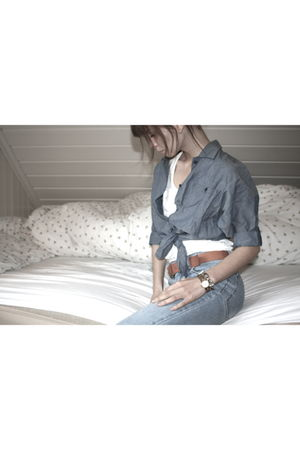 blue Cheap Monday jeans - brown H&M belt - blue H&M shirt - white H&M top - vint