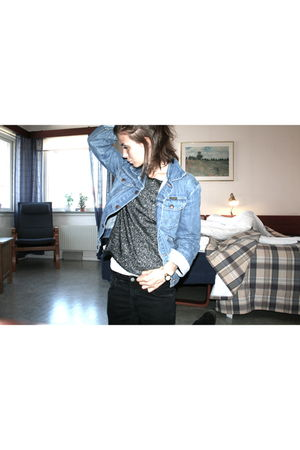 black Nudie Jeans jeans - silver Secondhand sweater - blue Secondhand Wrangler j