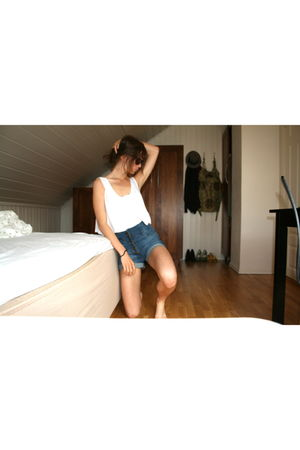 white old blouse - blue H&M shorts