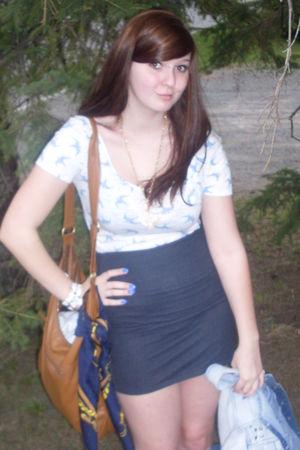 white shoes - brown H&M purse - blue jacket - white Zara shirt