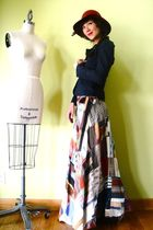 blue vintage blazer - red vintage hat - brown vintage skirt