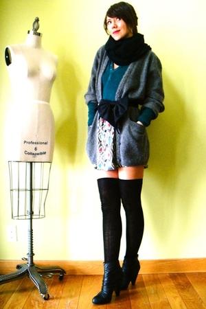 black JCrew socks - gray Hand Made skirt - gray vintage cardigan