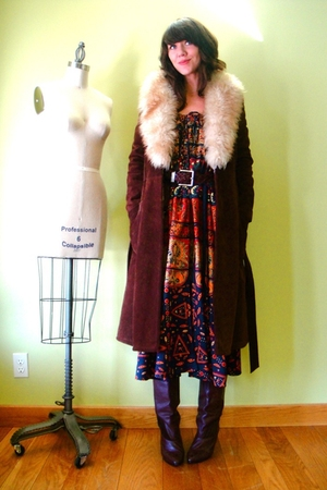 vintage coat - vintage boots - vintage belt - vintage dress